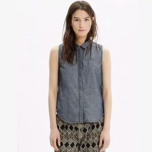 MADEWELL Denim Chambray Button Down Top Size M